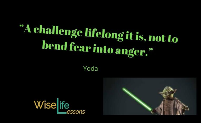 """A challenge lifelong it is, not to bend fear into anger."""