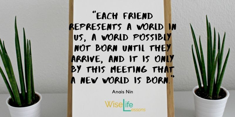 """Each friend represents a world in us, a world possibly not born until they arrive, and it is only by this meeting that a new world is born."""