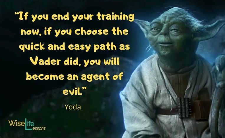 """""""If you end your training now, if you choose the quick and easy path as Vader did, you will become an agent of evil."""""""