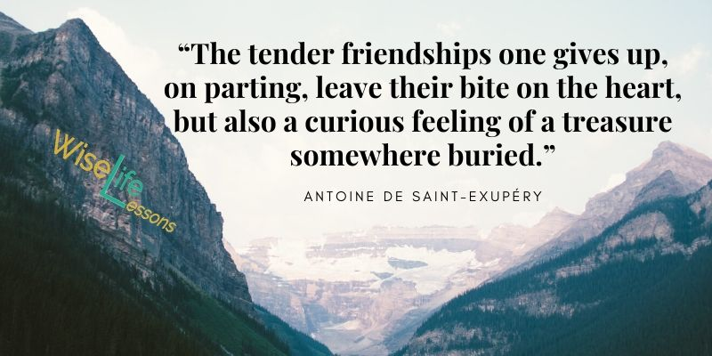 """""""The tender friendships one gives up, on parting, leave their bite on the heart, but also a curious feeling of a treasure somewhere buried."""""""