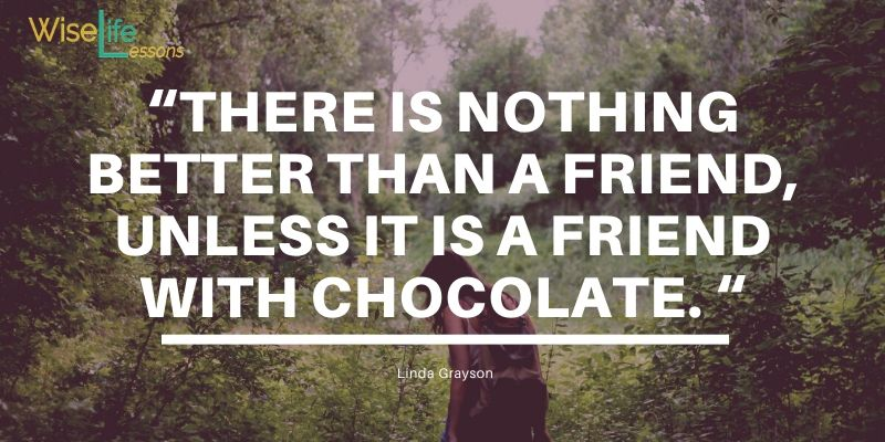 """""""There is nothing better than a friend, unless it is a friend with chocolate. """""""