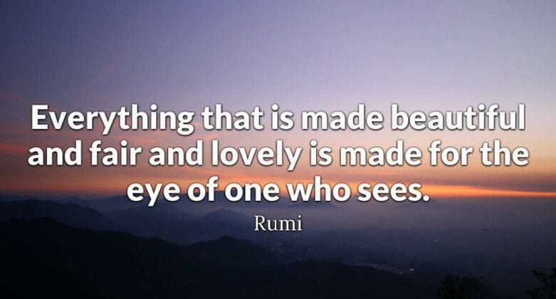 Everything that is made beautiful and fair and lovely is made for the eye of one who sees.