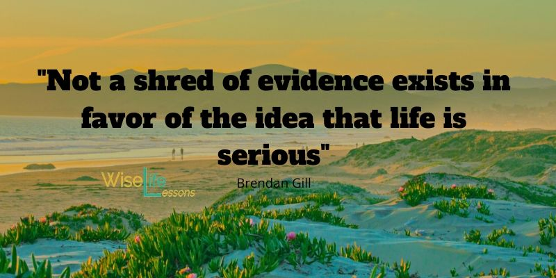 Not a shred of evidence exists in favor of the idea that life is serious