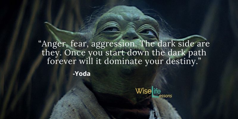 """""""Anger, fear, aggression. The dark side are they. Once you start down the dark path forever will it dominate your destiny."""""""