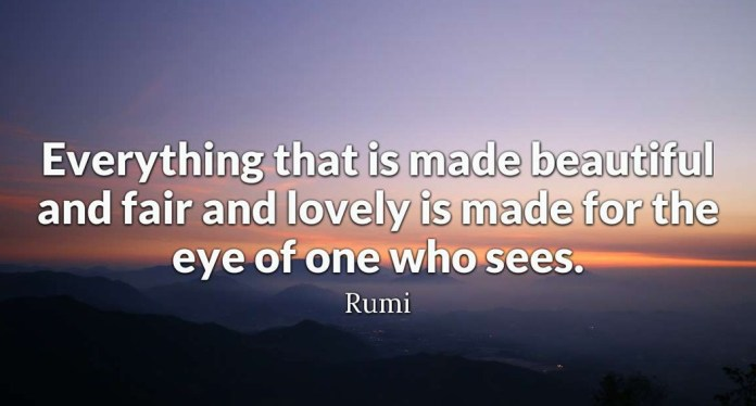 Everything that is made beautiful and fair and lovely is made for the eye of one who sees