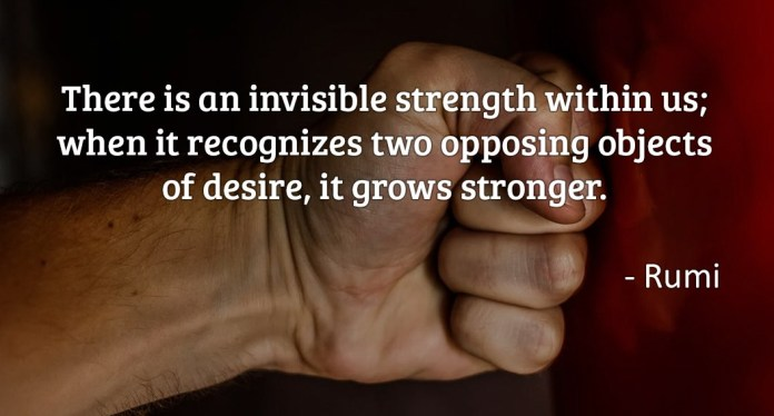 There is an invisible strength within us; when it recognizes two opposing objects of desire, it grows stronger