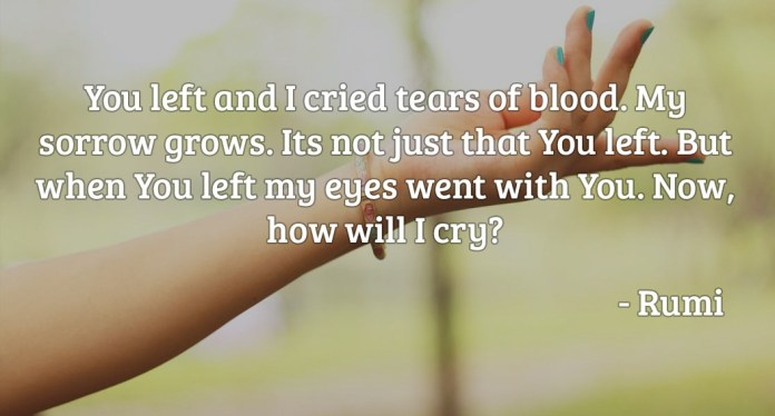 You left and I cried tears of blood. My sorrow grows. Its not just that You left. But when You left my eyes went with You. Now how will I cry