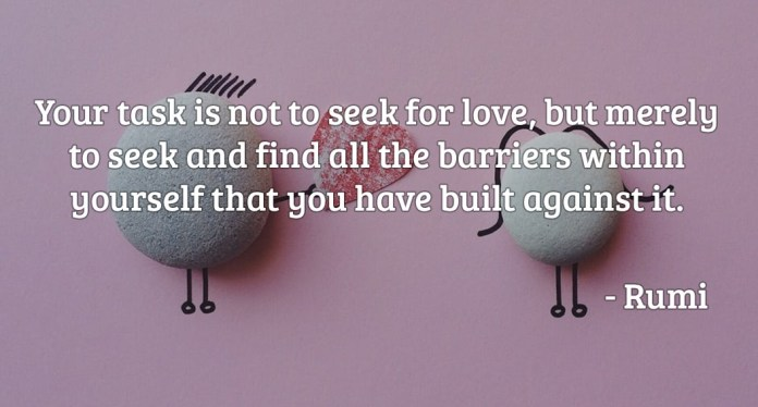 Your task is not to seek for love but merely to seek and find all the barriers within yourself that you have built against it.