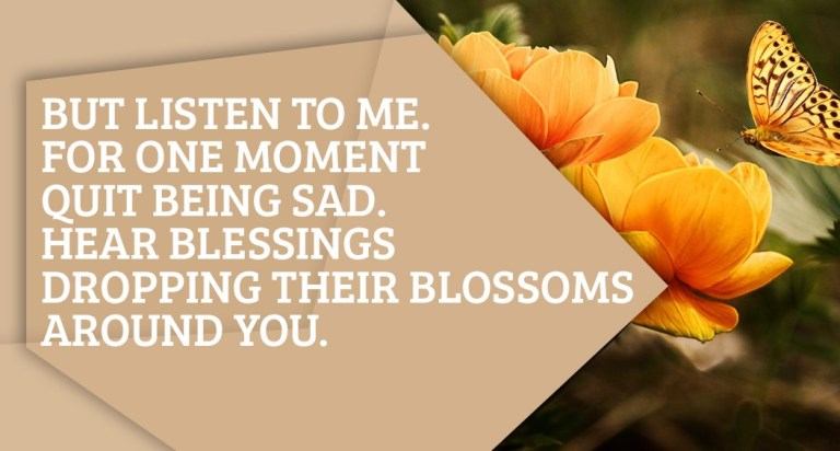 But listen to me. For one moment quit being sad. Hear blessings dropping their blossoms around you