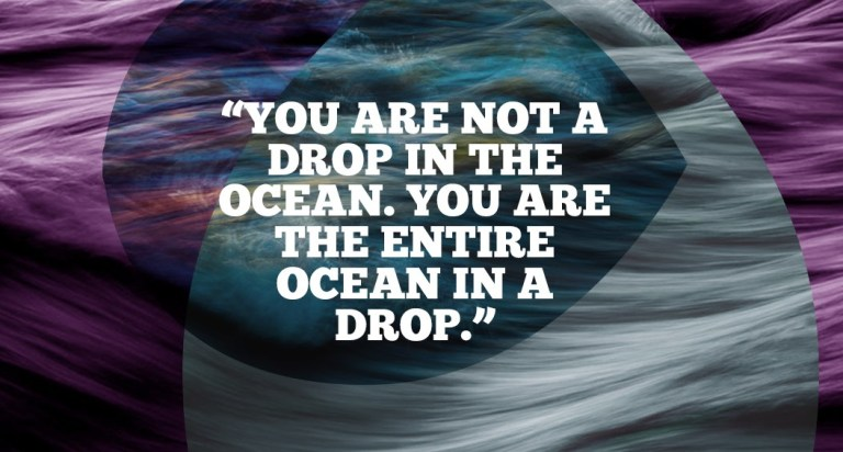 You are not a drop in the ocean. You are the entire ocean in a drop