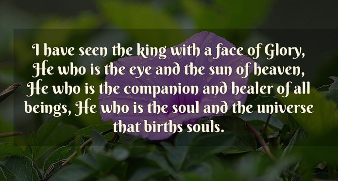 I have seen the king with a face of Glory, He who is the eye and the sun of heaven, he who is the companion and healer of all beings, He who is the soul and the universe that births souls