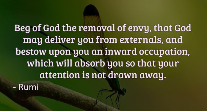 Beg of God the removal of envy, that God may deliver your from externals, and bestow upon you an inward occupation, which will absorb you so that your attention is not drawn away